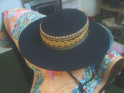 Retro Mexican/Latin looking black and gold Goucho Hat