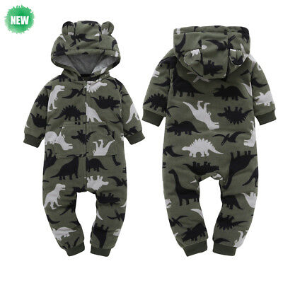 Newborn Infant Baby Boys Girls Thick Camouflage Hooded Romper Jumpsuit Outfits