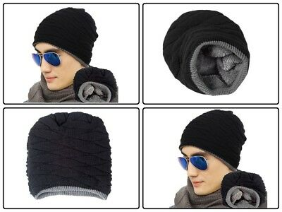 Men's Soft Lined Thick Skull Cap Warm Winter Slouchy Hat holiday Christmas gift