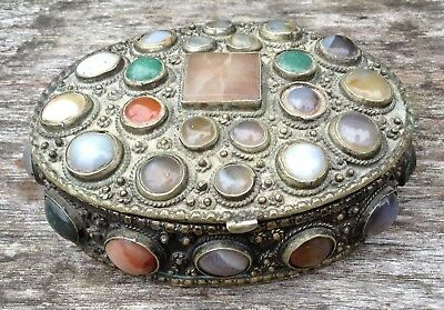 Superb Old Vintage Hand Crafted White Metal Semi Precious Stones Keepsake Box