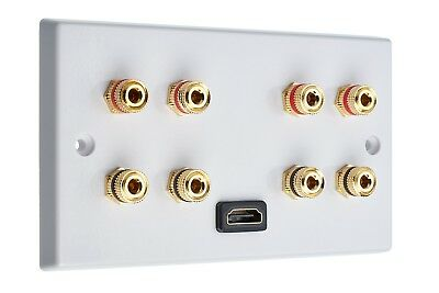 4.0 Audio / AV Speaker Wall Plate + 1 HDMI. 8 Gold Binding Posts Non-solder