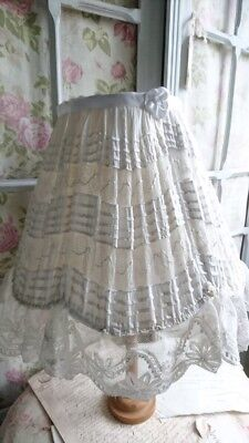 Beautiful Vintage French Fine Linen And Lace Ruched Frilled Boudoir Lampshade