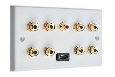 4.1 Audio / AV Speaker Wall Plate Gold 8 Binding Posts + 1 RCA + HDMI Non-solder