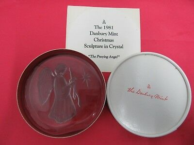 1981 Danbury Mint Christmas Sculpture In Crystal~The Praying Angel~B0257~