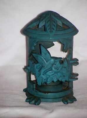 Vintage Japanese Cast Iron Green Pagoda Lantern With Bird Design Tabletop