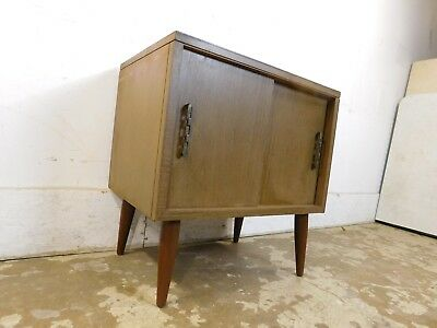 Mid Century Modern Vintage Retro Floating Cone Leg Record Cabinet Sliding Doors