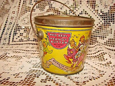 Antique Vintage Red Seal Peanut Butter Can Tin Nursery Rhymes Canco