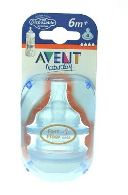 New Philips AVENT 2 PACK Classic Fast Flow NIPPLES 6M+ Lot of 2  Free Ship
