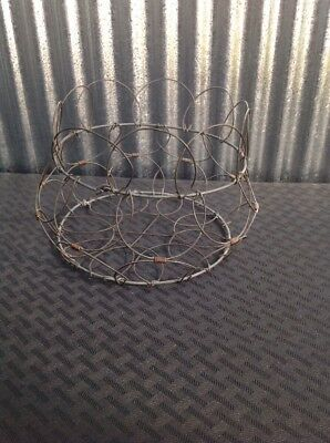 Vintage Collapsible French Metal Wire Mesh Egg Basket With Handle