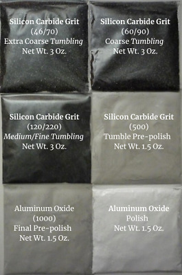 Rock Tumbling Grit Super Kit 6 Pack for Hard or Soft Stones Using a 3lb Tumbler