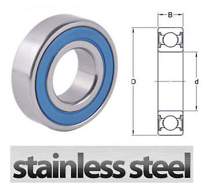 S6005RS Stainless Steel Sealed Deep Groove Ball Bearing 25 x 47 x 12mm W6005 2RS