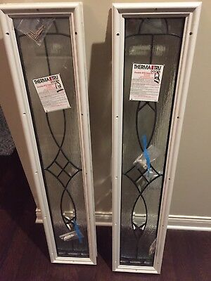 New Pair Therma Tru Glass Entry Sidelights Fits 9x48 inch opening.