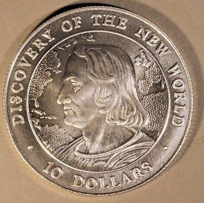 1990 Bahamas $10 Discovery of New World Silver BU    ** FREE U.S. SHIPPING **