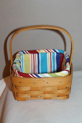 2001 Longaberger Tarragon Booking Basket,  New Coaster Sunny Day Stripe Fabric