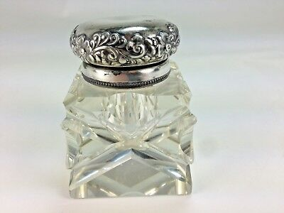 Antique Square Fancy Cut French Crystal Silver Plate Top Inkwell