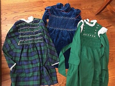 Lot of 3 Vintage Polly Flinders Long-Sleeved Smocked Dresses - 1970's - Size 10