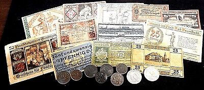WW1 local German Currency and coins. Notgeld Emergency money