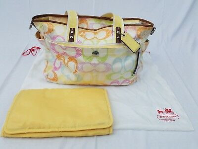 COACH unisex multi-colored extra large diaper bag with changing pad and dust bag