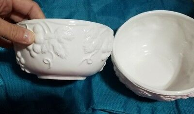 Pair Of Large Matching Milk Glass Bowls ~ Grapes Vines ~ Century Of China ~