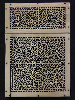 Antique Indian Carved Bovine Bone Reticulated Card Case