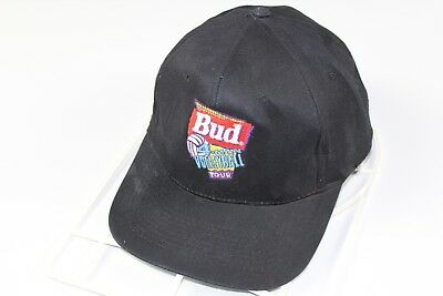 Vintage 90s BUDWEISER 4 Man Volleyball Tour Rare Spell Out Snapback Hat Black
