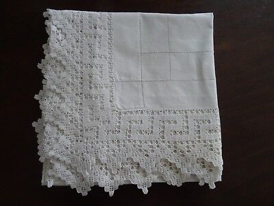 "Antique/vintage White Cotton Greek Key Lace Edged Small 40"" X 42"" Tablecloth"