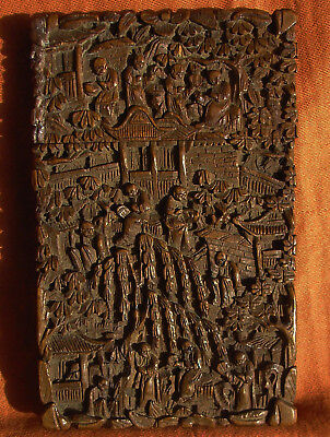 Antique Chinese Cantonese Wooden Card Case