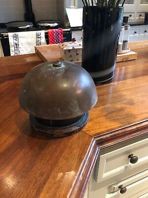 Large Heavy Antique Beautiful Hand Made Bronze Bell On Wooden Stand Very Rare