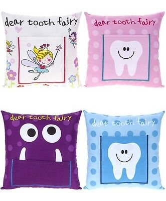 Tooth Fairy Cushion Pillow With Pocket Money Children Kids Boys Girls