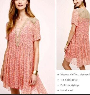 6aa0e5342f84 Maeve Anthropologie Pink Coral Floral Sheer Dress Size 0 Slip Casual Boho