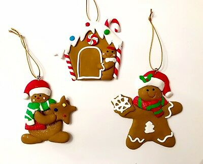 S/3 Gingerbread House Man Polymer Clay Xmas Tree Ornament Peppermint Candy Cane