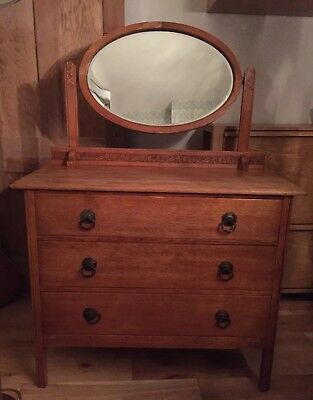 Oak Edwardian Arts and Crafts style chest of drawers / dressing table + mirror