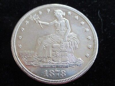 1878-S Trade Dollar. Au Details, Raw, Uncertified, Circulated.