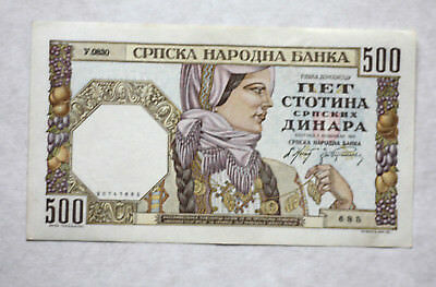 500 Dinara, German Okupat. WW II Nat.Bank of Serbia, 1941.