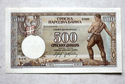 500 Dinara, German Okupat. WW II Nat.Bank of Serbia, 1942.