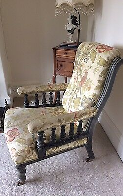 Antique Open Arm Chair, Re-upholstered