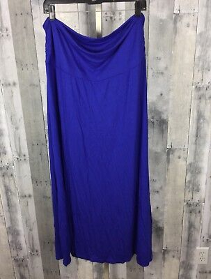 Motherhood Maternity XL Blue Maxi Skirt Stretch Fold Over Waistband Rayon