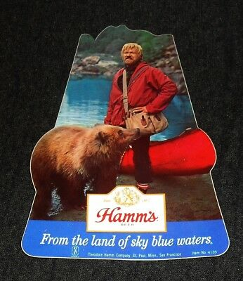 Cool 1960's MINT Hamm's Beer Man and Canoe Adhesive Cooler Sticker