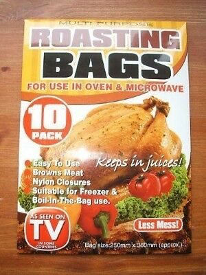 10 Large Multipurpose Roasting Bags. Use in Oven / Microwave / Frezer / Boil-In