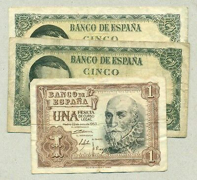 Spain - Lot Of 3 Bank Notes Vf