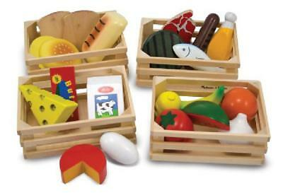 Food Groups Wooden Play Pretend Set Kitchen Kids Toy Cooking Toys Playset Gift
