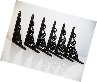 "Lot/Set of 6 Antique-Style Cast Iron SMALL 6 1/4"" x 4 1/2"" SHELF BRACKETS Hanger"