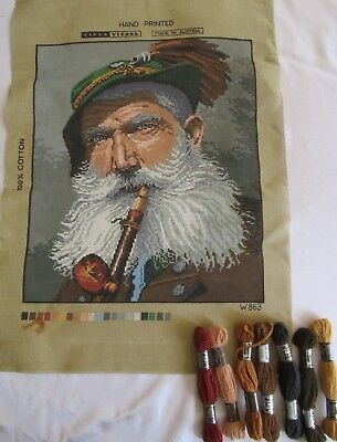 UNSTITCHED TAPESTRY CANVAS Vintage Austrian Hand Printed MAN WITH PIPE &7 skeins