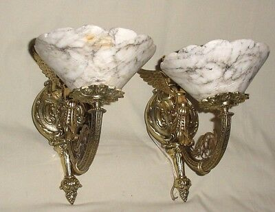 ANTIQUE PAIR BRONZE WINGED NAKED WOMEN ANGELS WALL SCONCES w/ ALABASTER SHADES