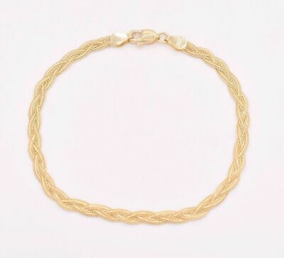 Triple Woven Braided Fox Tail Wheat Bracelet Real Solid 14K Yellow Gold 7""