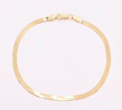 3.00mm High Polish Herringbone Bracelet Real Solid 14K Yellow Gold 7""