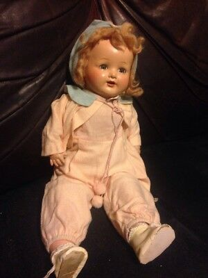 "Circa 1930-40's American Character ""Chuckles""? Composition Baby Doll Wigged"