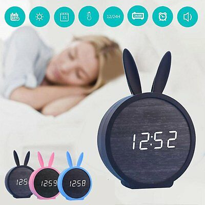 Cute Rabbit Wooden Wood Digital LED Desk Alarm Clock Thermometer Timer Calendar