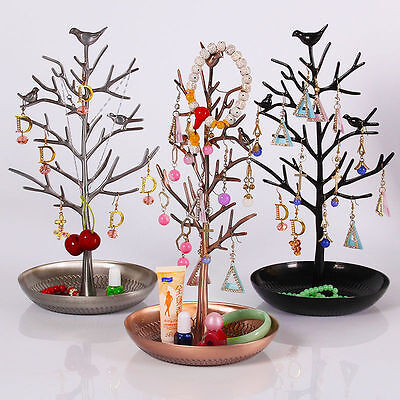 Retro Bird Tree Jewelry Display Stand Earrings Ring Necklace Watch Holder Rack