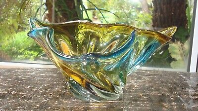 VINTAGE RETRO  Czech CHRIBSKA Josef Hospodka ART GLASS BOWL - NOT MURANO